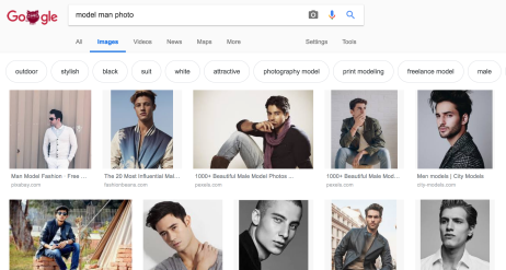 I googled 'model man photo' and I picked the one of the guy sitting on a crate.